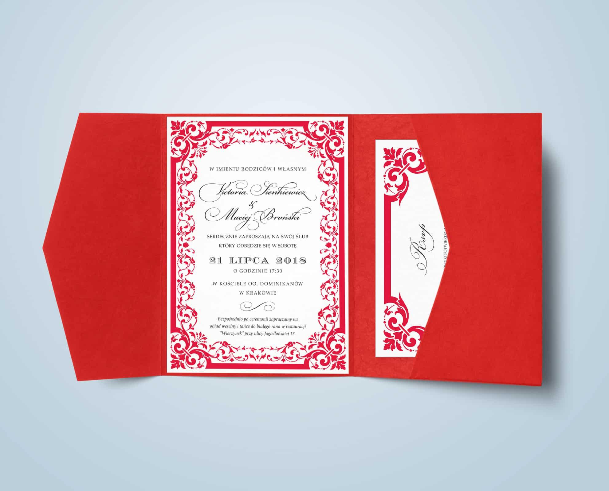 Zaproszenie Victoria w kolorze czerwonym z dodatkiem ornamentu
