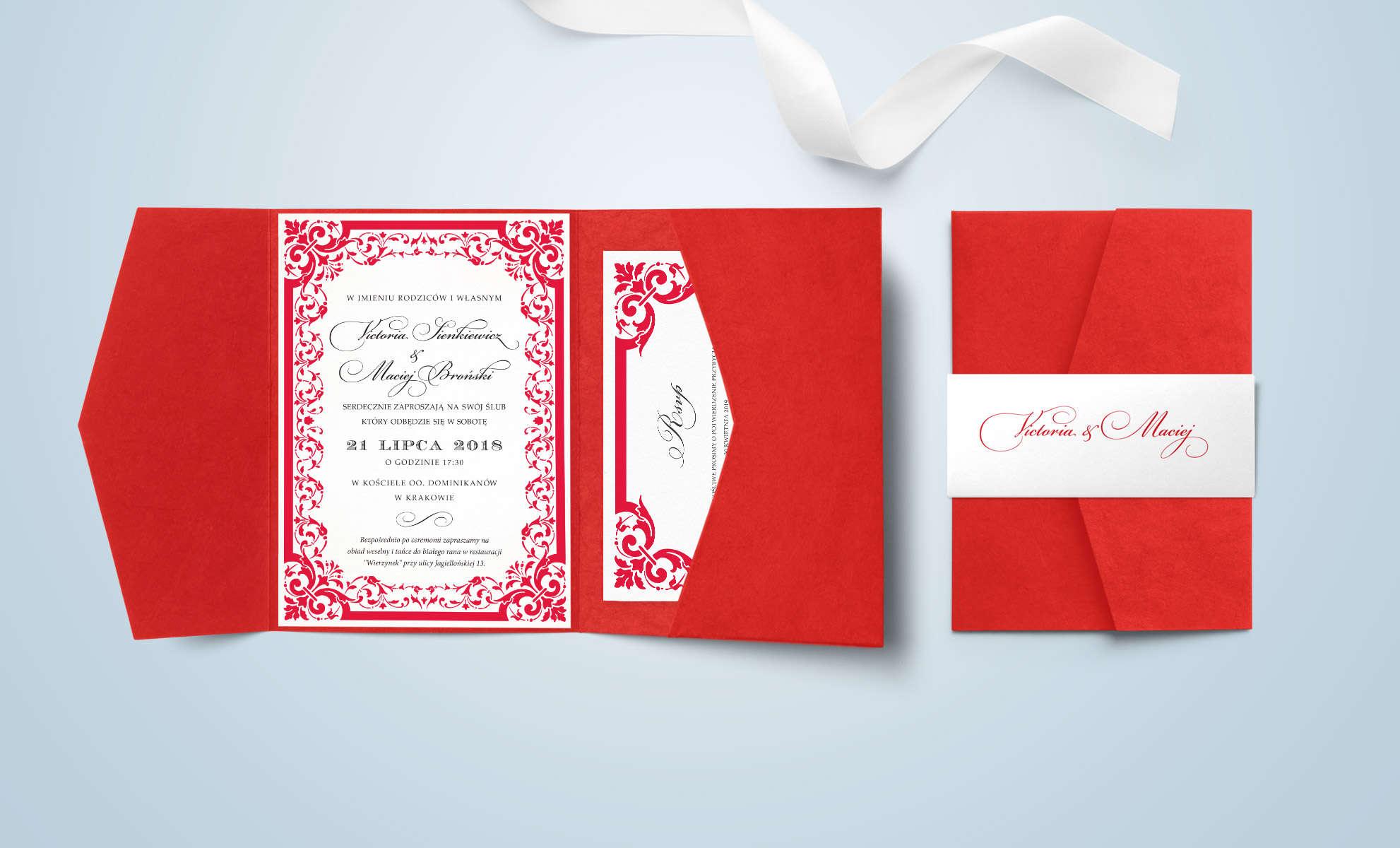 Czerwone zaproszenie ze zdobieniem ornamentami i kieszonka na mapę
