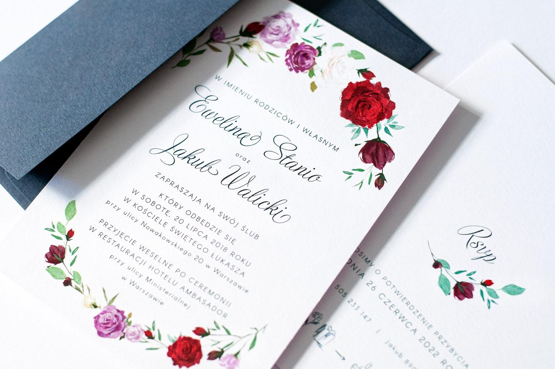 Kwiatowe zaproszenia ślubne z różami