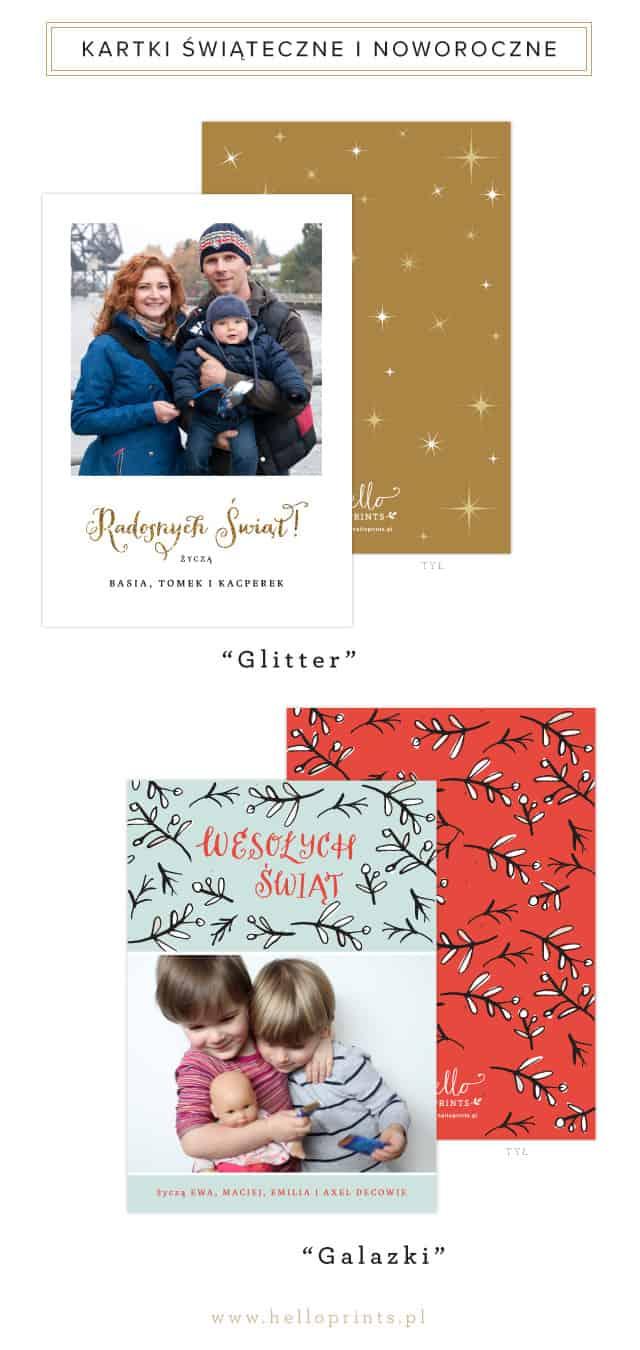 Kartki świąteczne i noworoczne w złocie i czerwieni