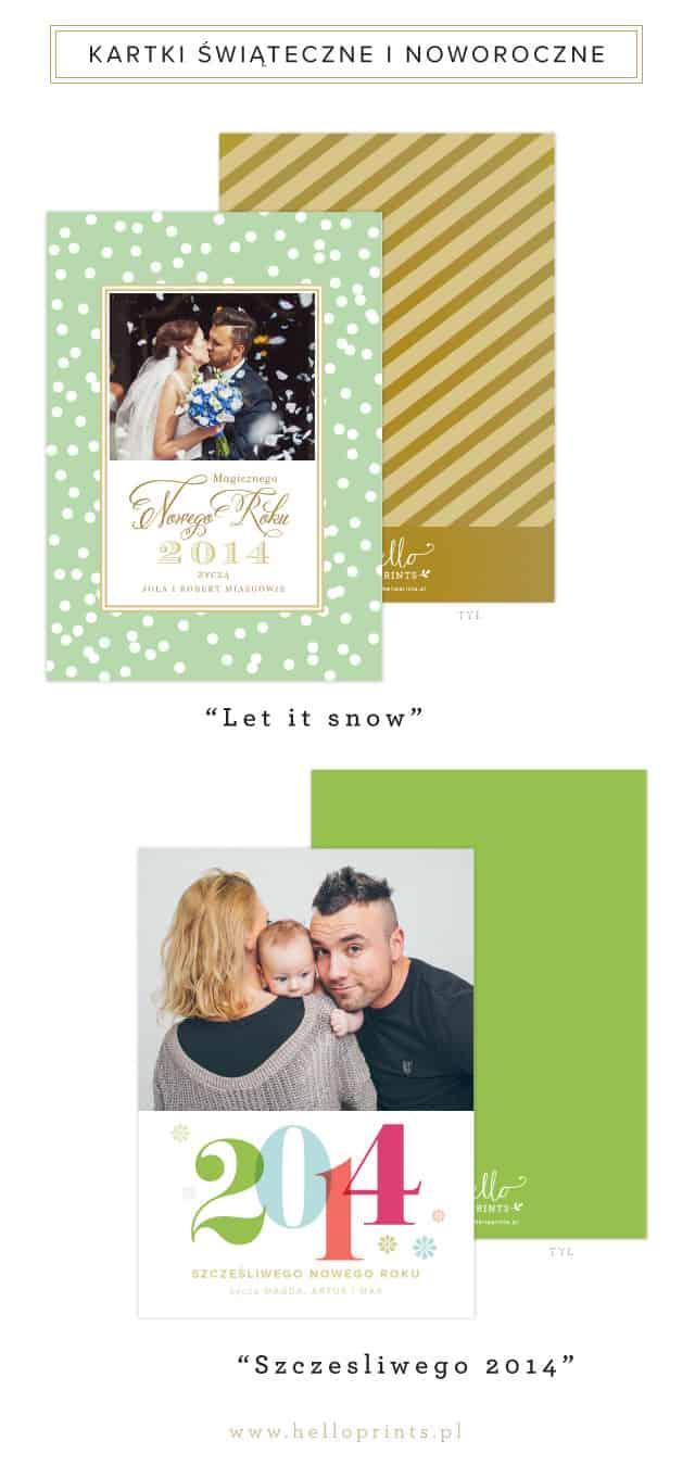Turkusowo zielone i złote kartki świąteczne ze zdjęciem