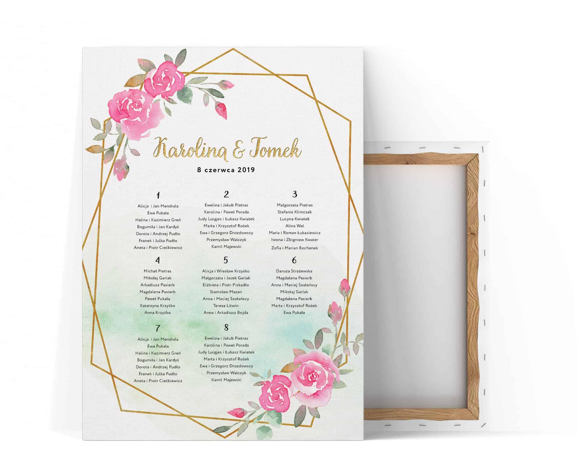 Plan stołów na wesele Mary, różowe róże i złota ramka