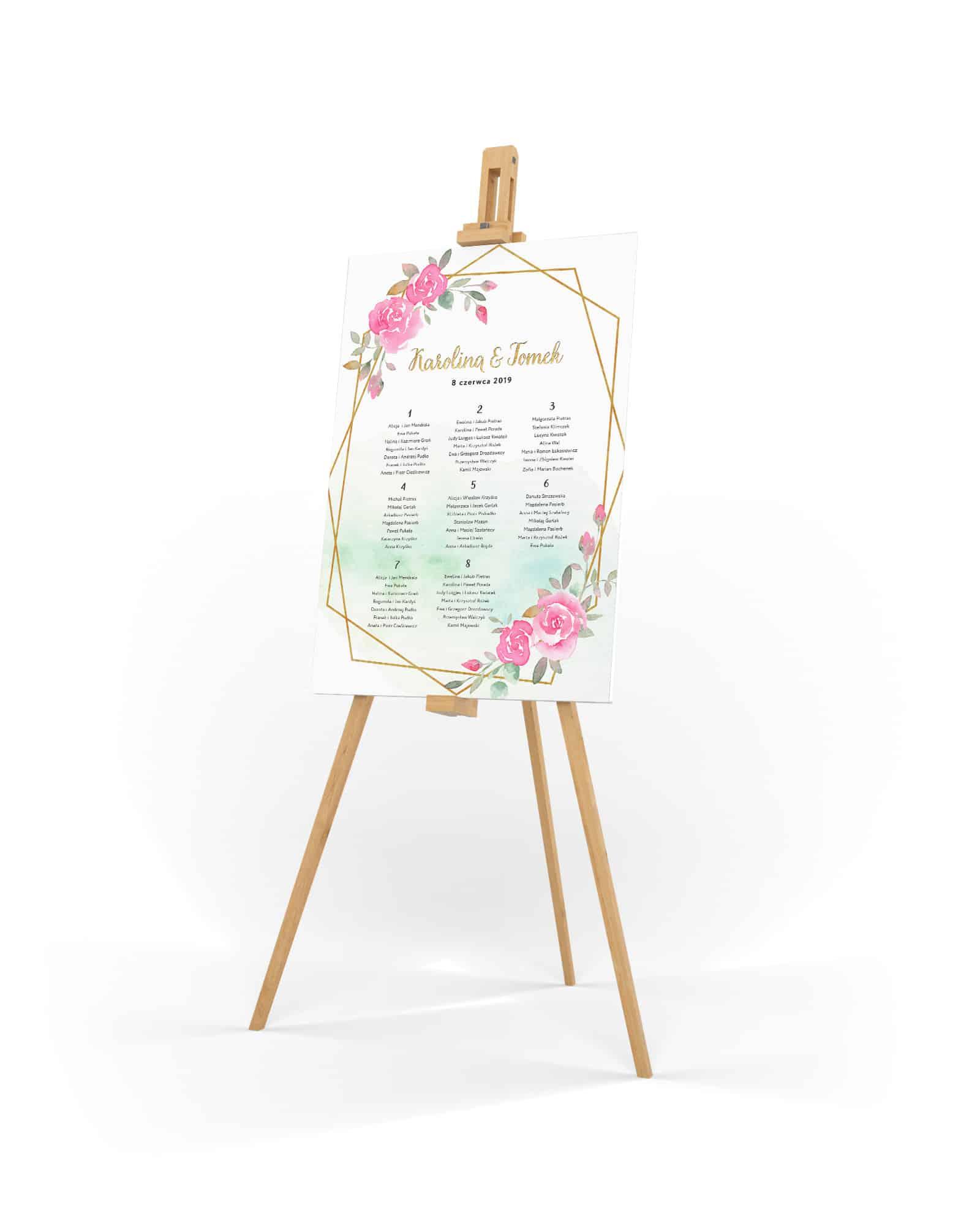 plan rozmieszczenia stołów na wesele z kwiatami róż i złotą ramką na miętowym tle