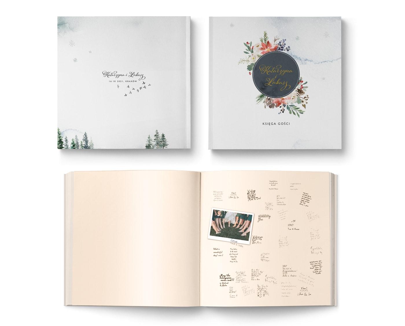 Tradycyjny album w formie księgi gości, styl zimowy, choinki, ziomowe kwiaty