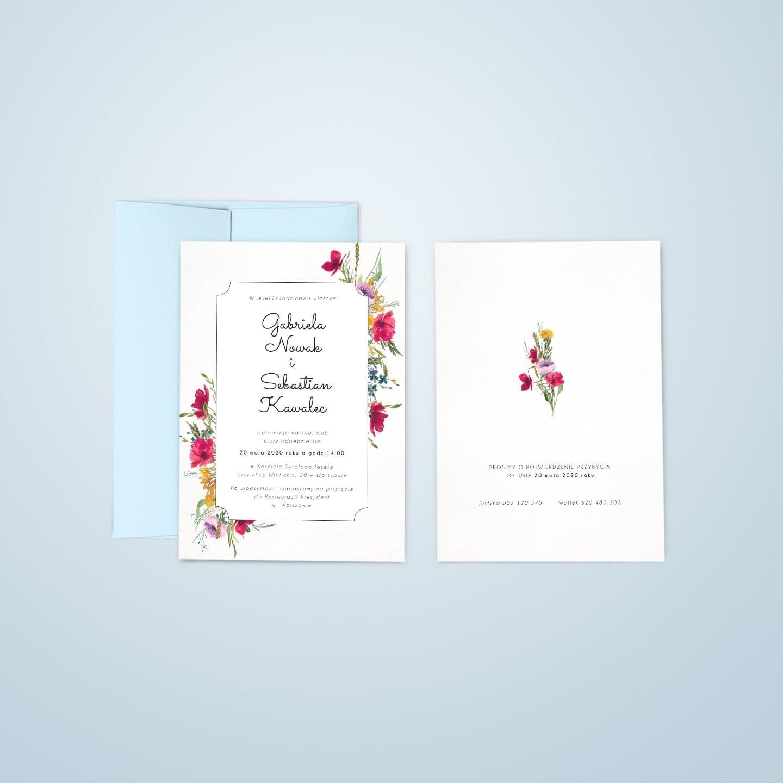 Zaproszenia w stylu rustykalnym z bukietami polnych kwiatów i trawy