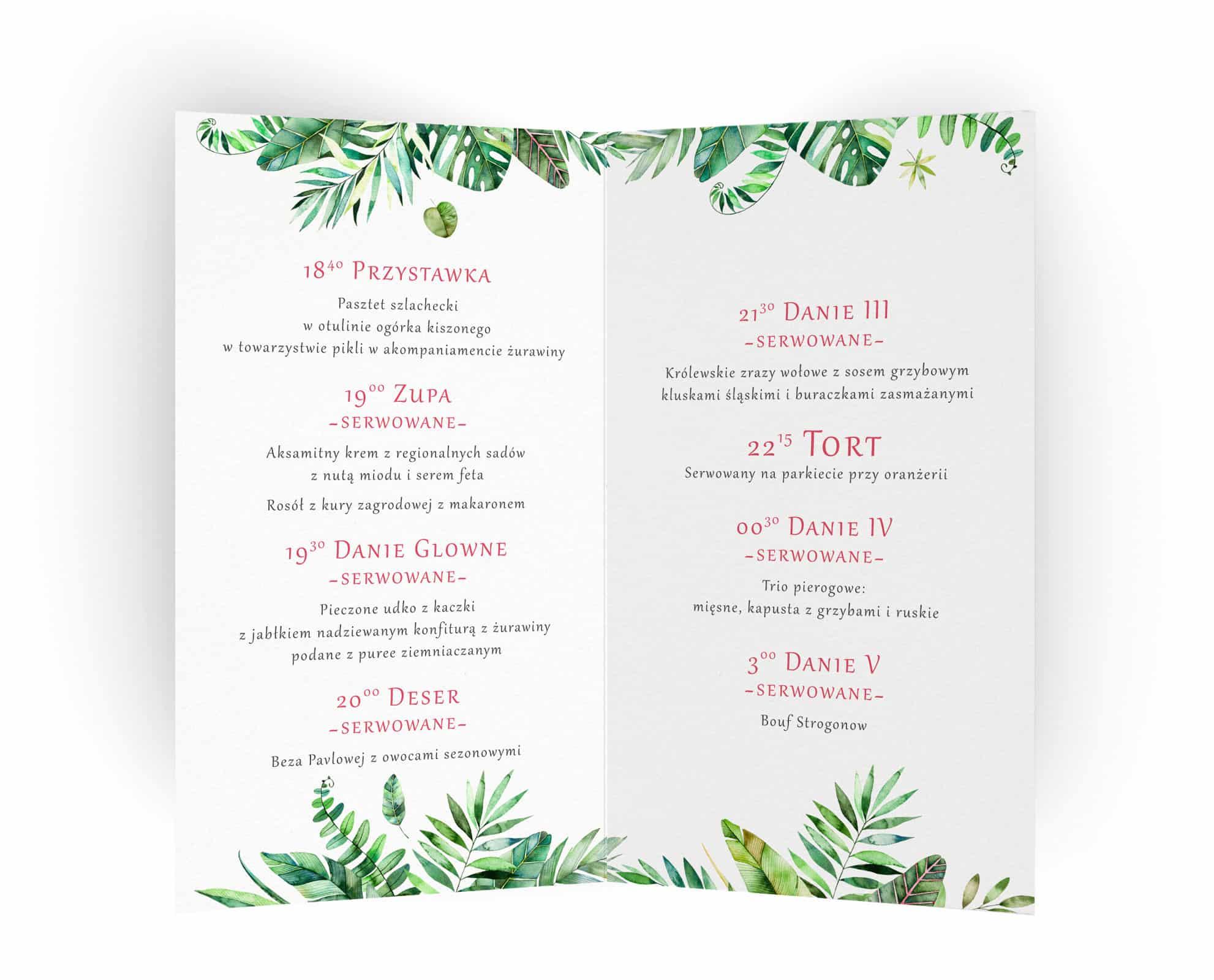 Karty menu Monastery z zielonymi listkami