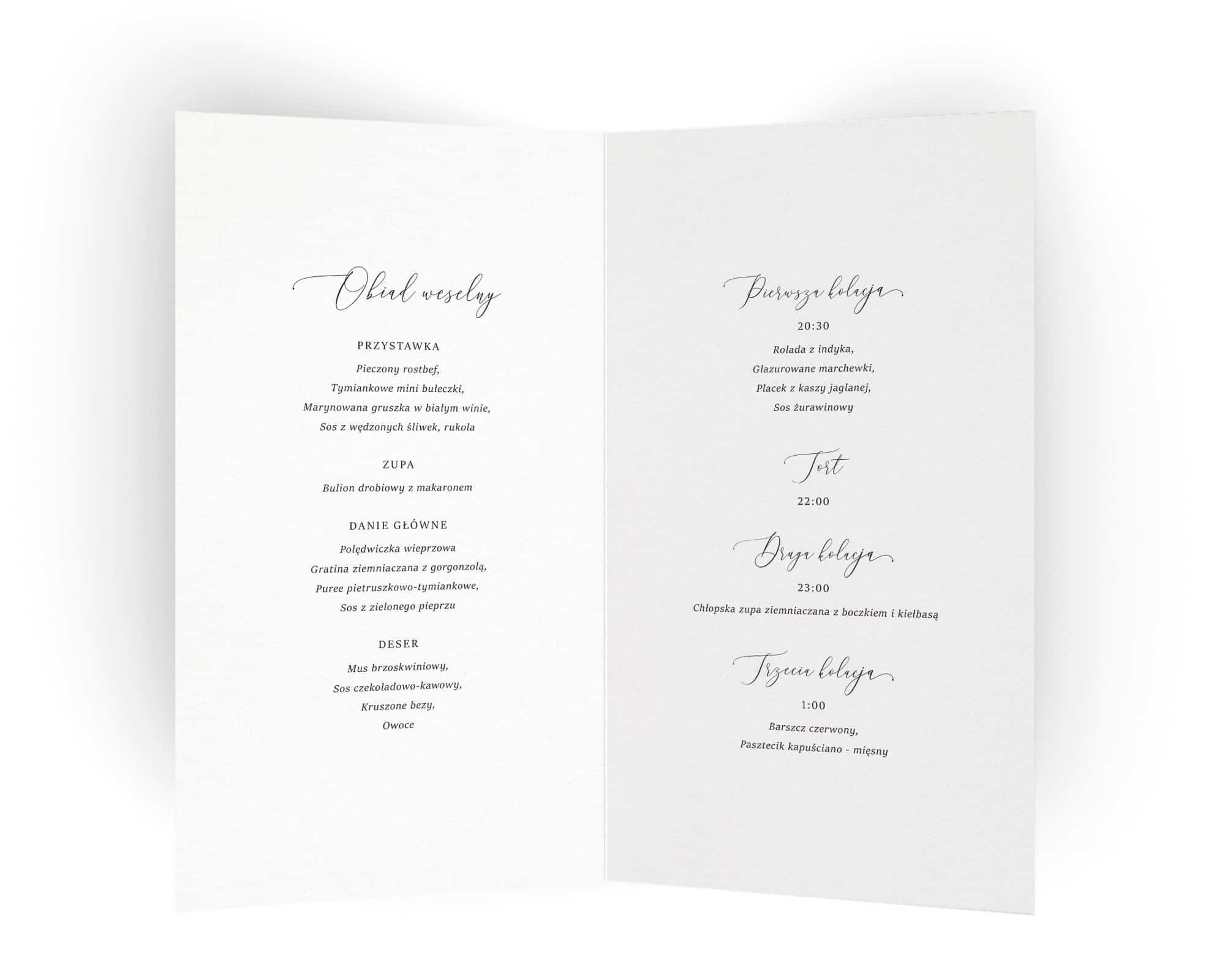 Karty menu na stoły eleganckie