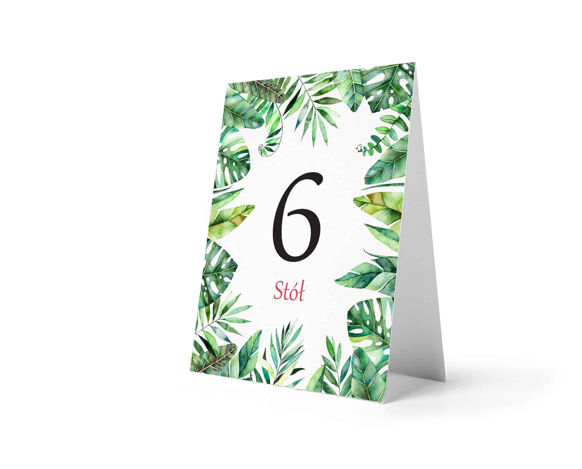 Numery na stoły w stylu tropikalnym