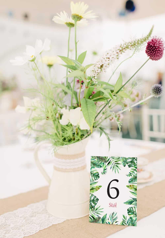 Numery na stół Monastery, zielone liście