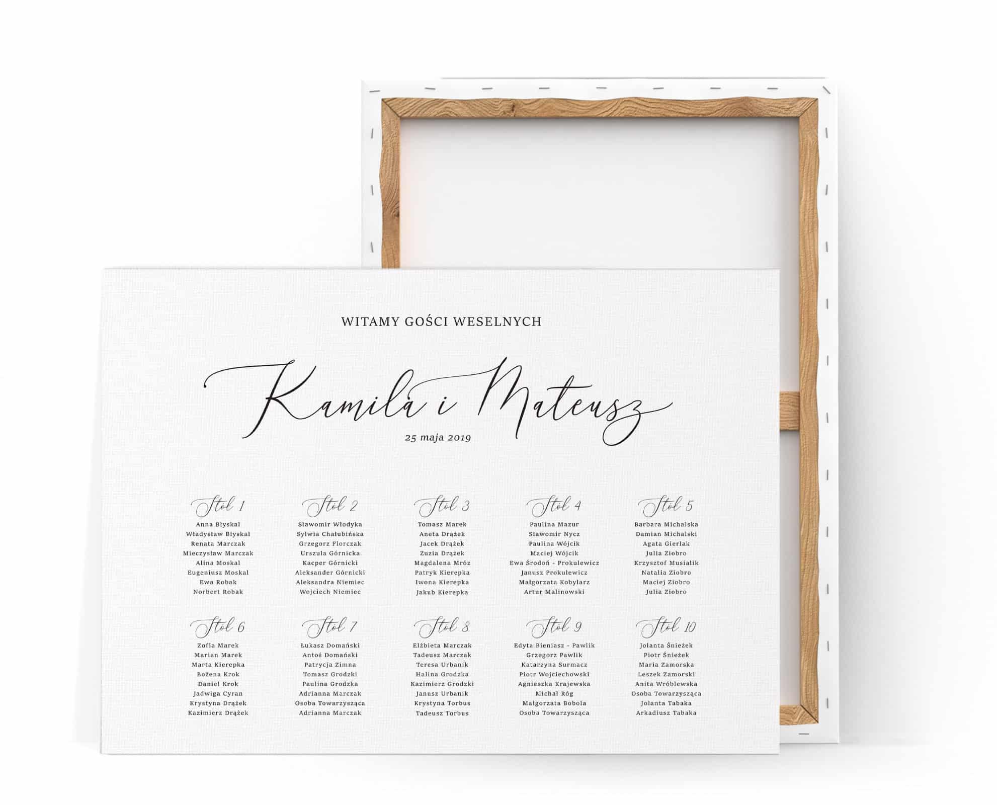 Plan stołów na wesele minimalistyczny z ozdobną czcionką