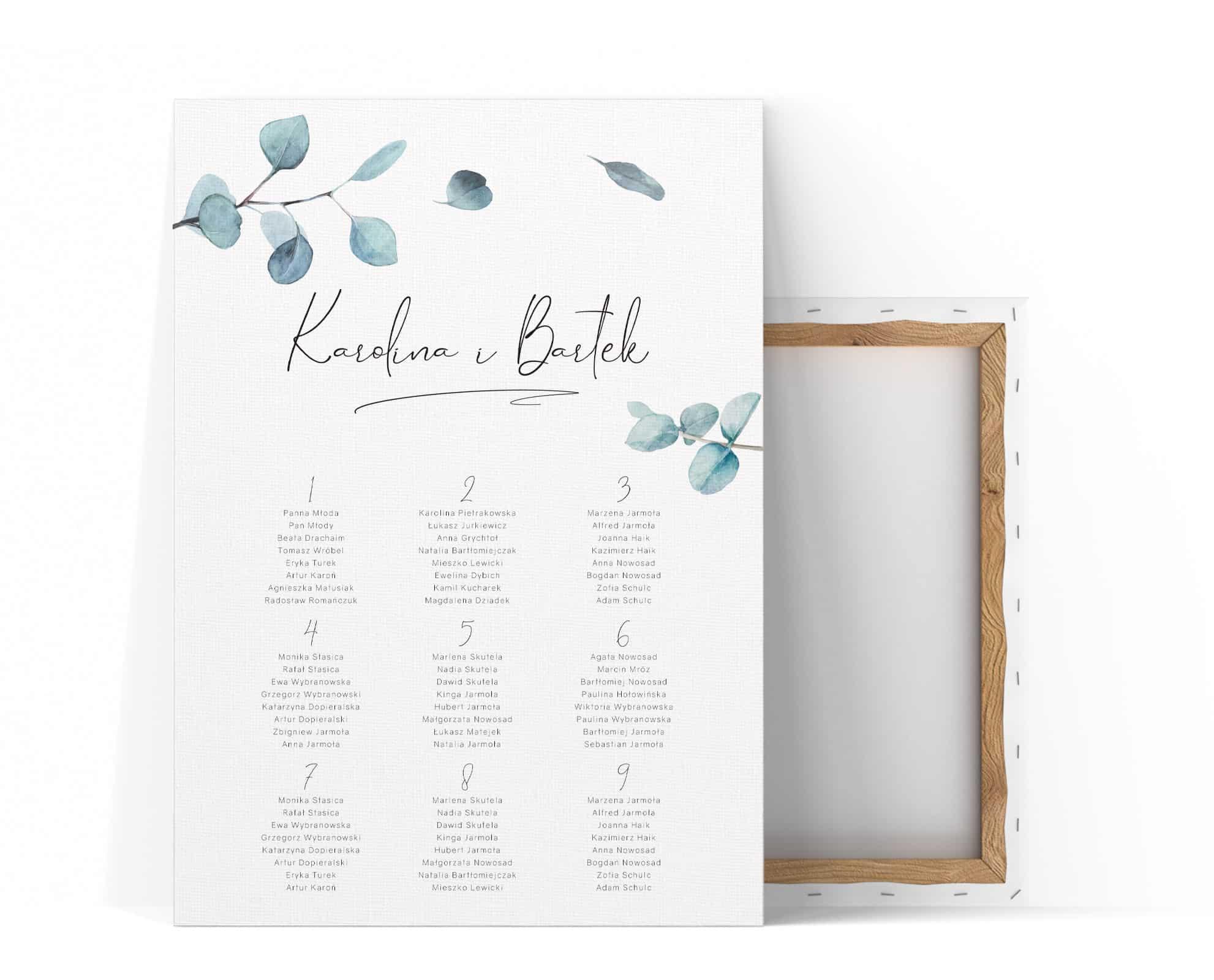 Plan stołów weselnych z liśćmi eukaliptusa