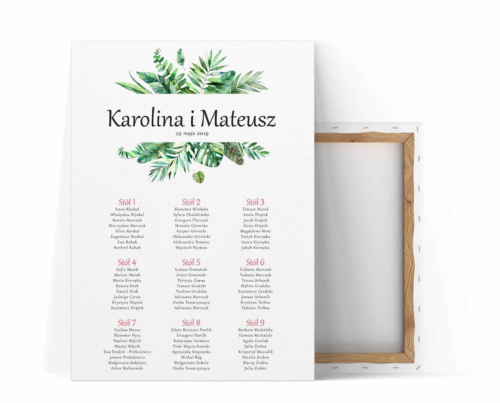 Plan stołow weselnych monastery z roślinami tropikalnymi