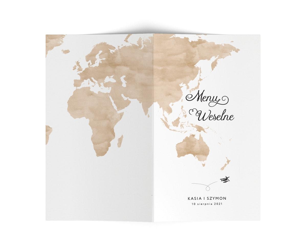 Karty menu na stoły z brązową mapą świata
