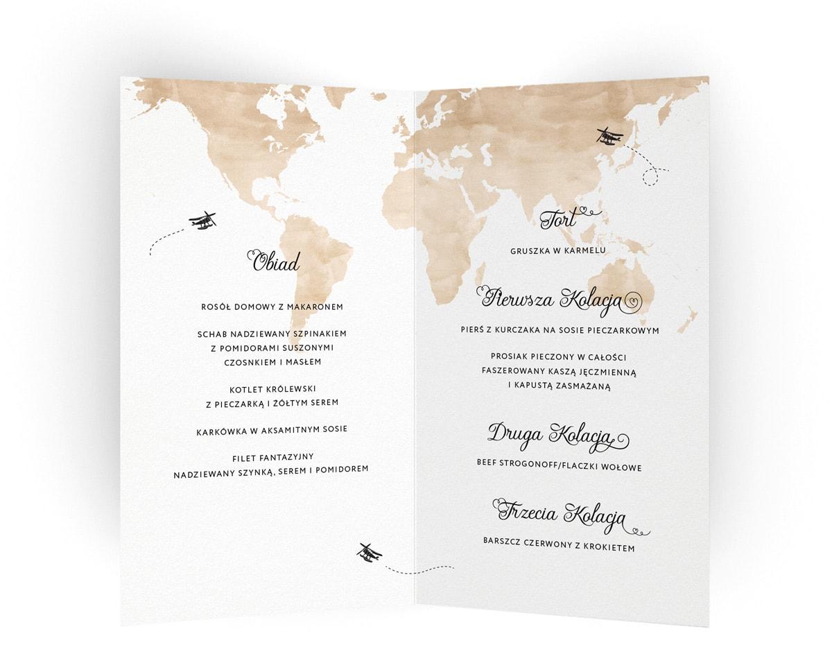 Karty menu z motywem mapy i małymi samolotami