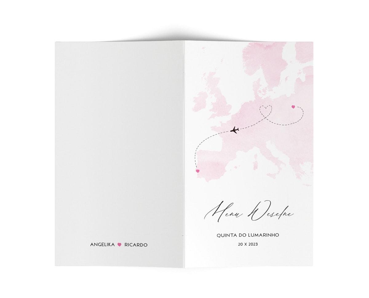 Karty menu weselne z różową mapą świata