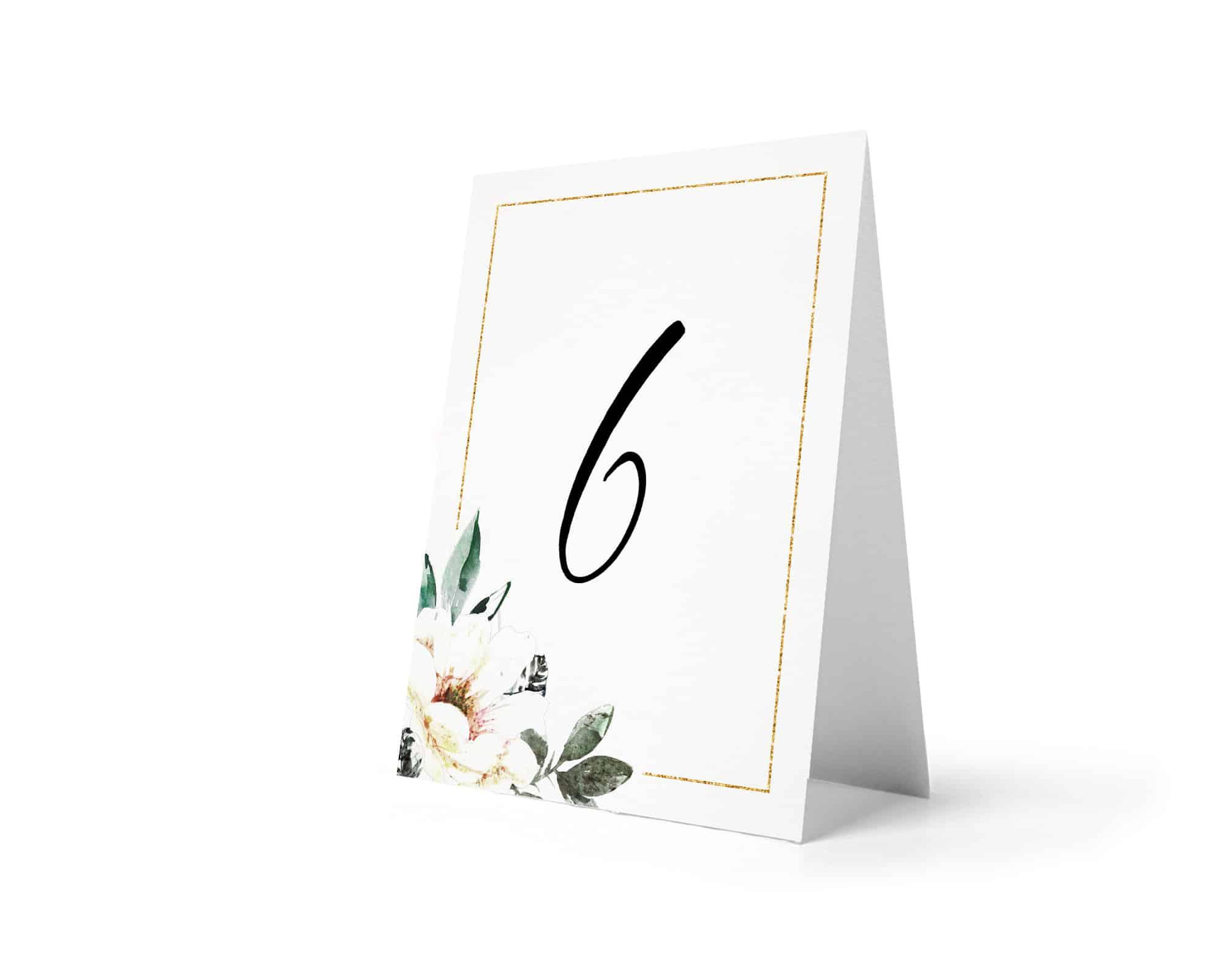 Numery na stoły weselne ze złotą ramką i kwiatami