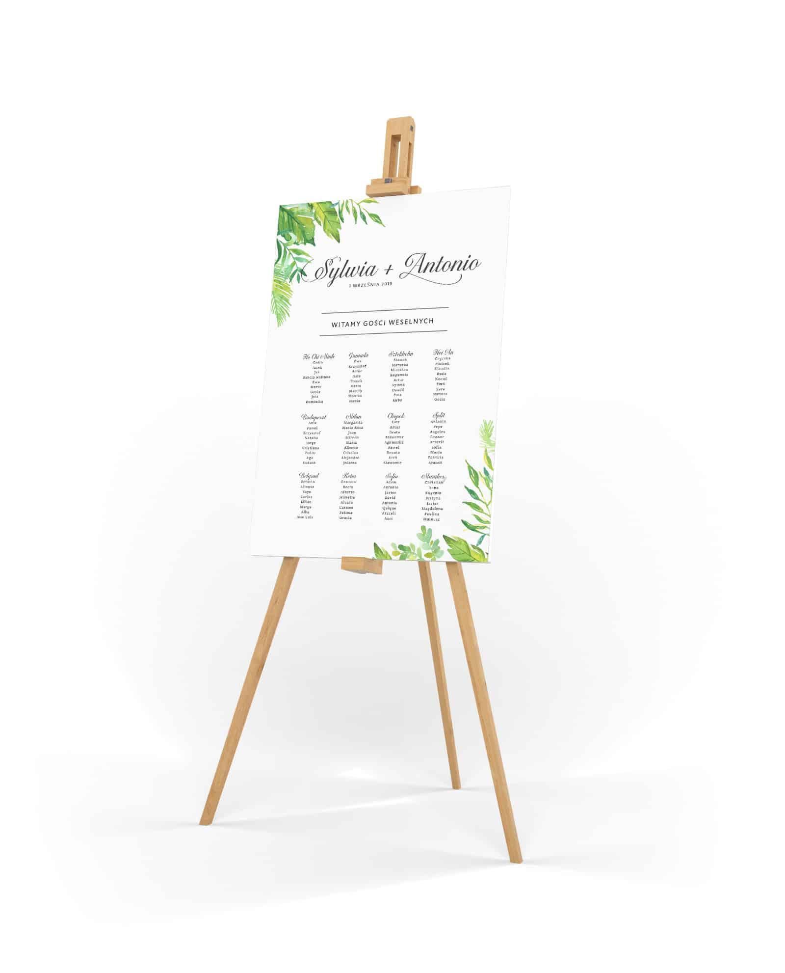Plan rozmieszczenia gości z zielonymi listkami paproci