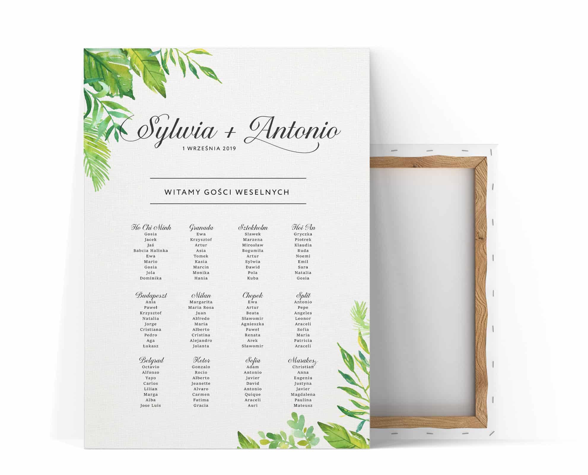 Plan usadzenia gości weselnych z dużymi zielonymi liściami w rogach