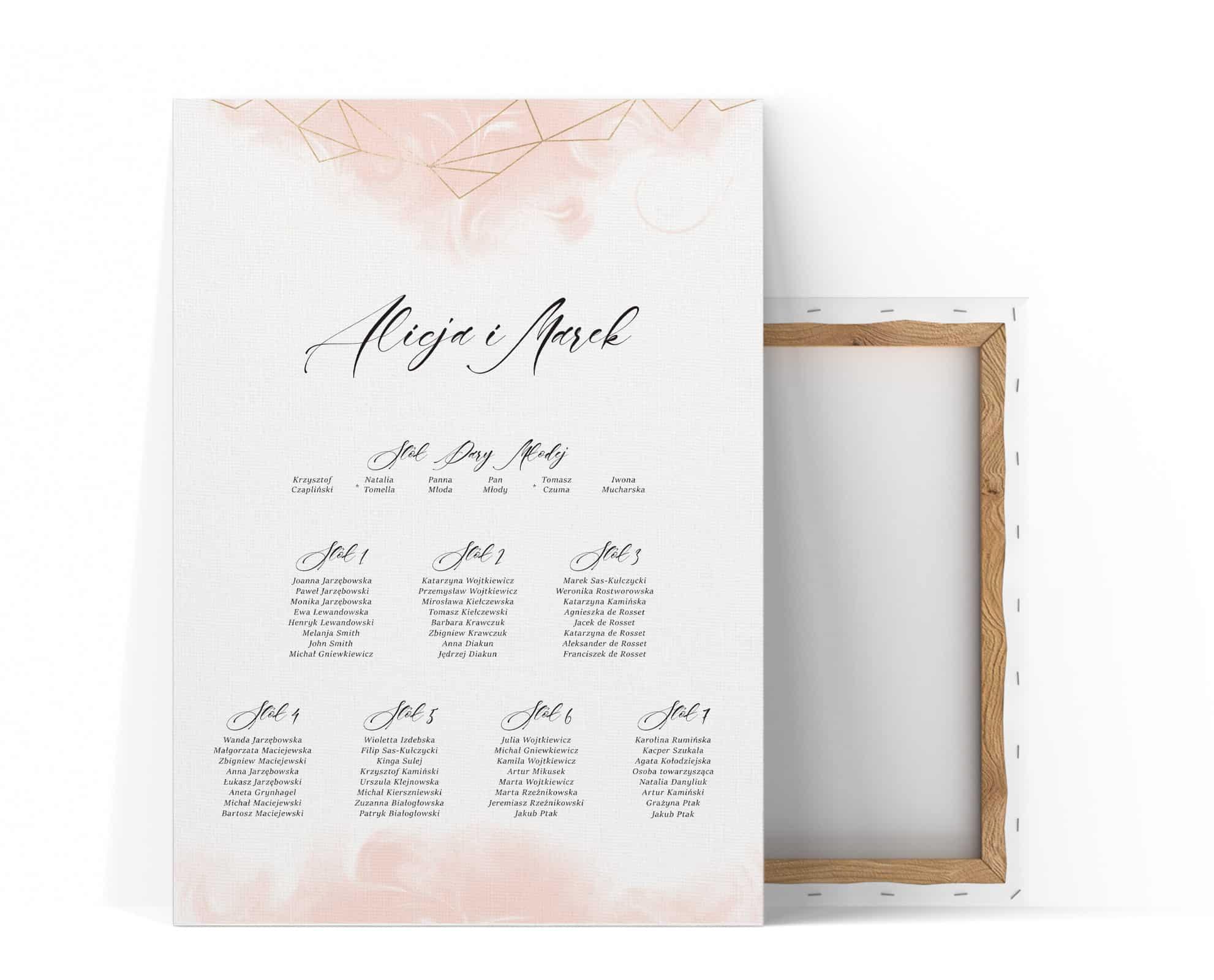 Plan stołów weselnych z delikatnym różowym tłem i geometrycznym wzorem