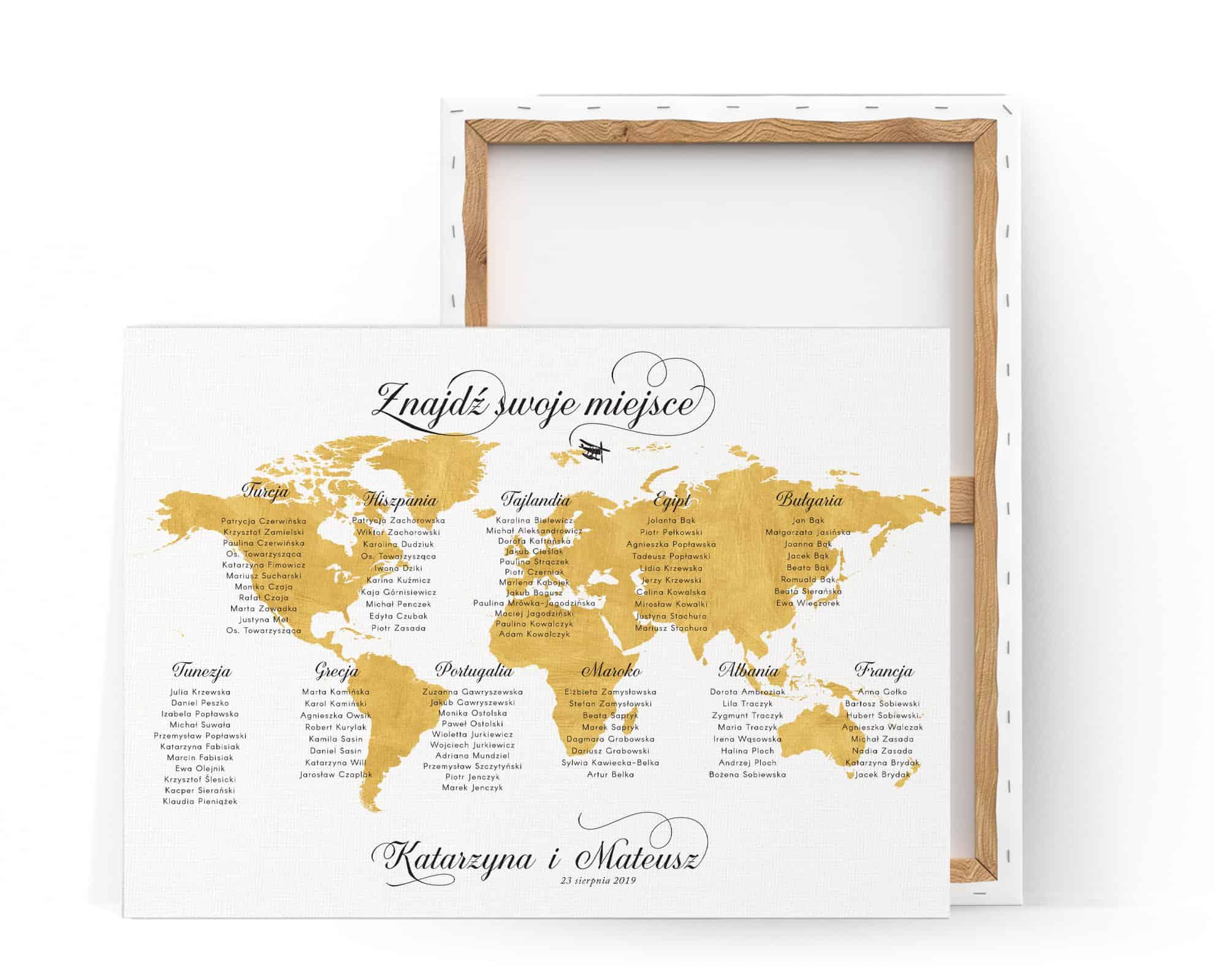 Tablica gości weselnych z mapą świata w złotym kolorze