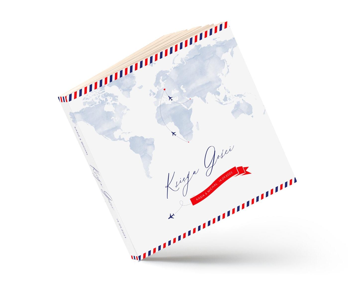 Klasyczna księga gości z motywem niebieskiej mapy świata