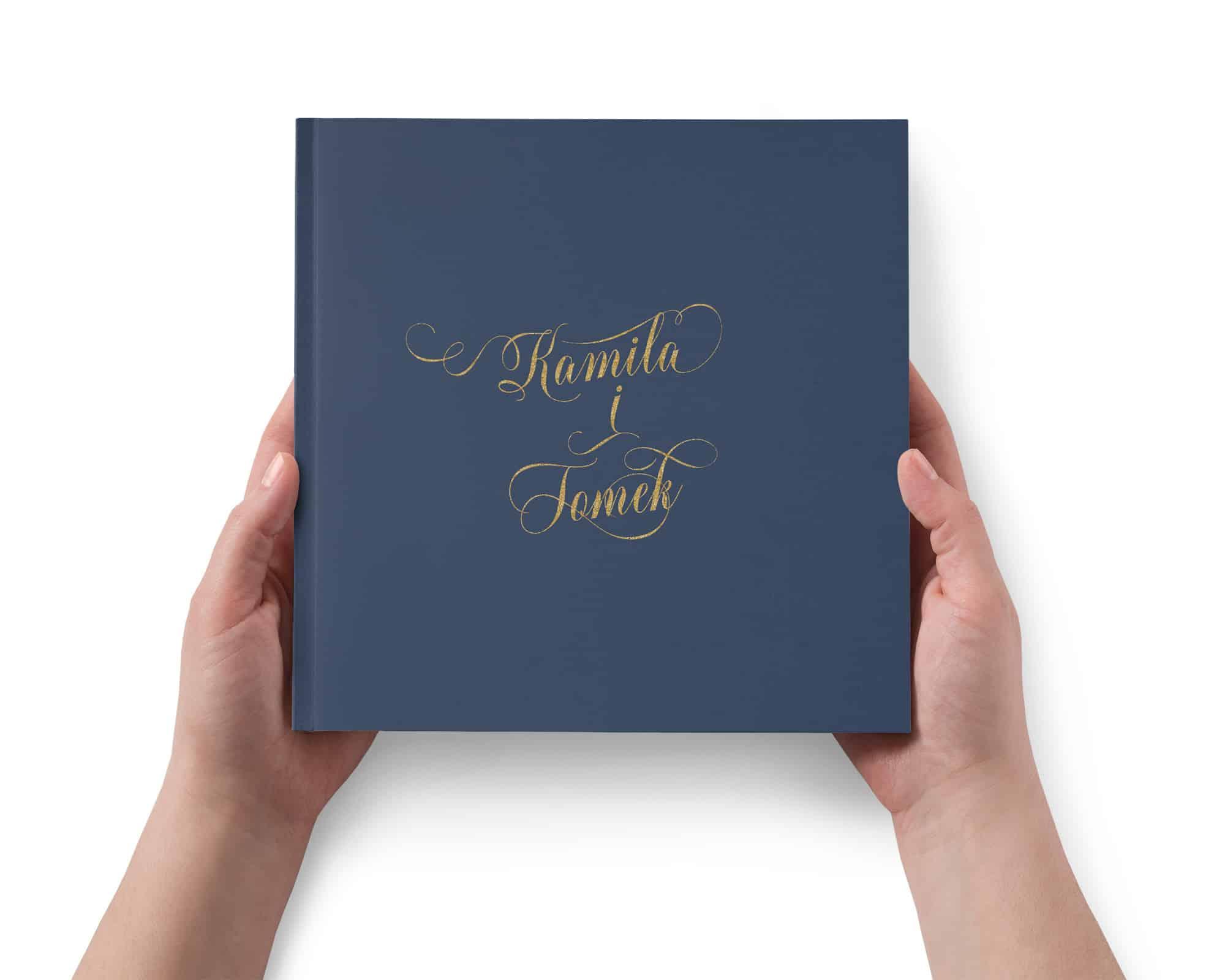 Granatowa księga gości weselnych, klasyczna i elegancka