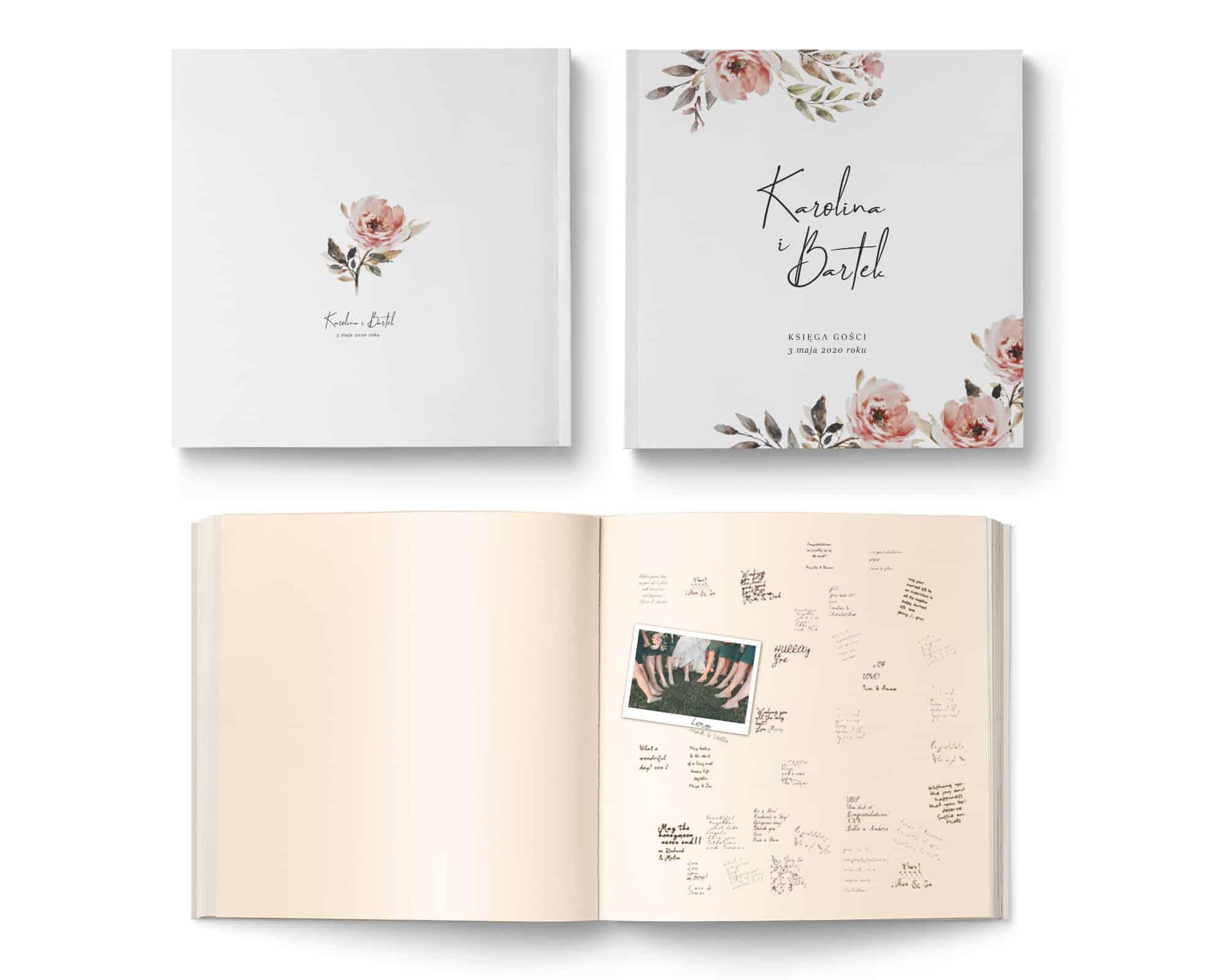 Księga gości na wesele z kompozycją pięknych blado różowych kwiatów i ozdobną czcionką