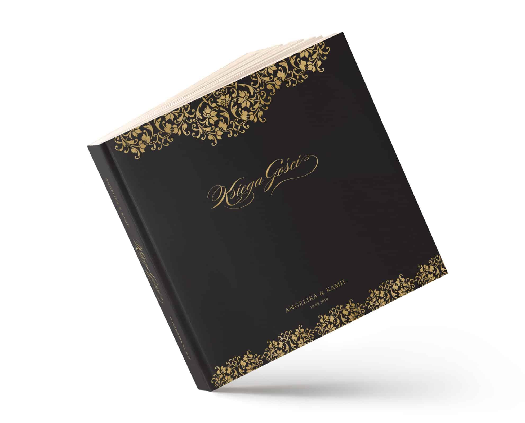 Księga gości na wesele czarno złota elegancka