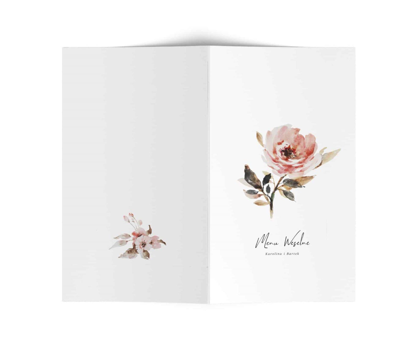 Karty menu na stoły, styl vintage, kwiaty i ozdobna czcionka