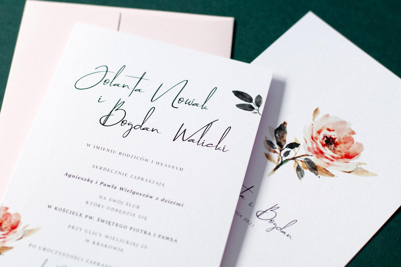 Zaproszenia ślubne w stylu vintage z akwarelowymi kwiatami