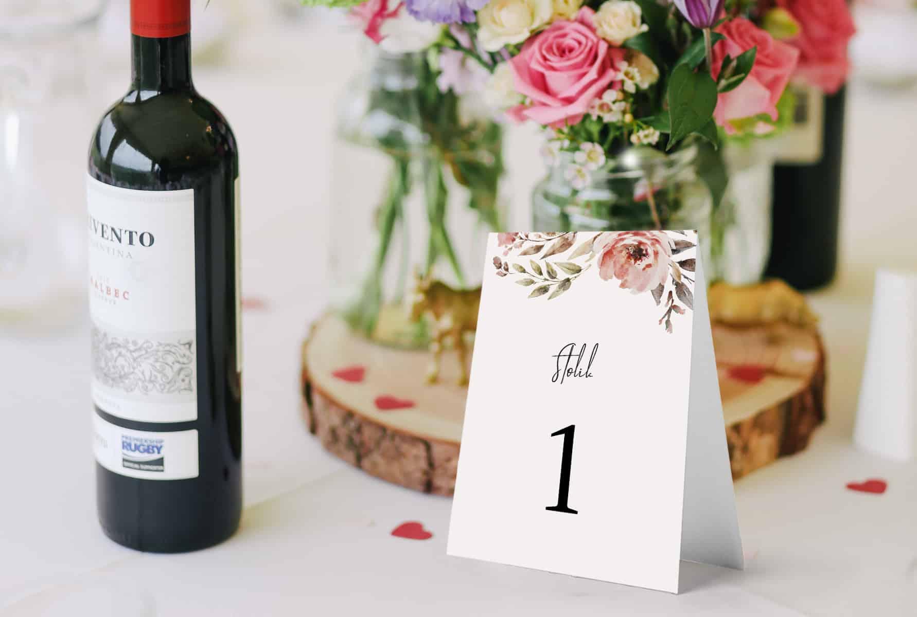 Numery stołów w stylu vintage blado różowe kwiaty