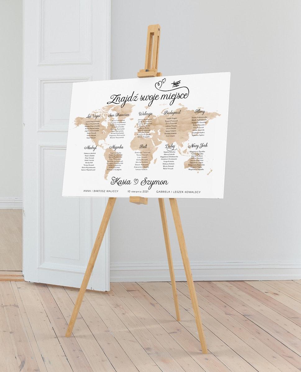 Plan rozmieszczenia gości z akwarelową mapą świata i nazwami miast