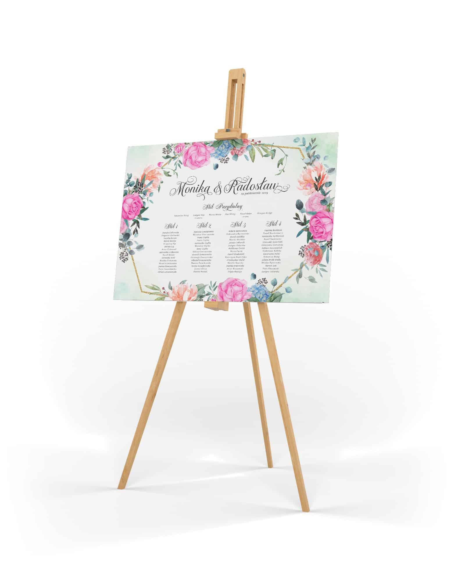 Plan usadzenia gości z dużymi kwiatami w żywych kolorach