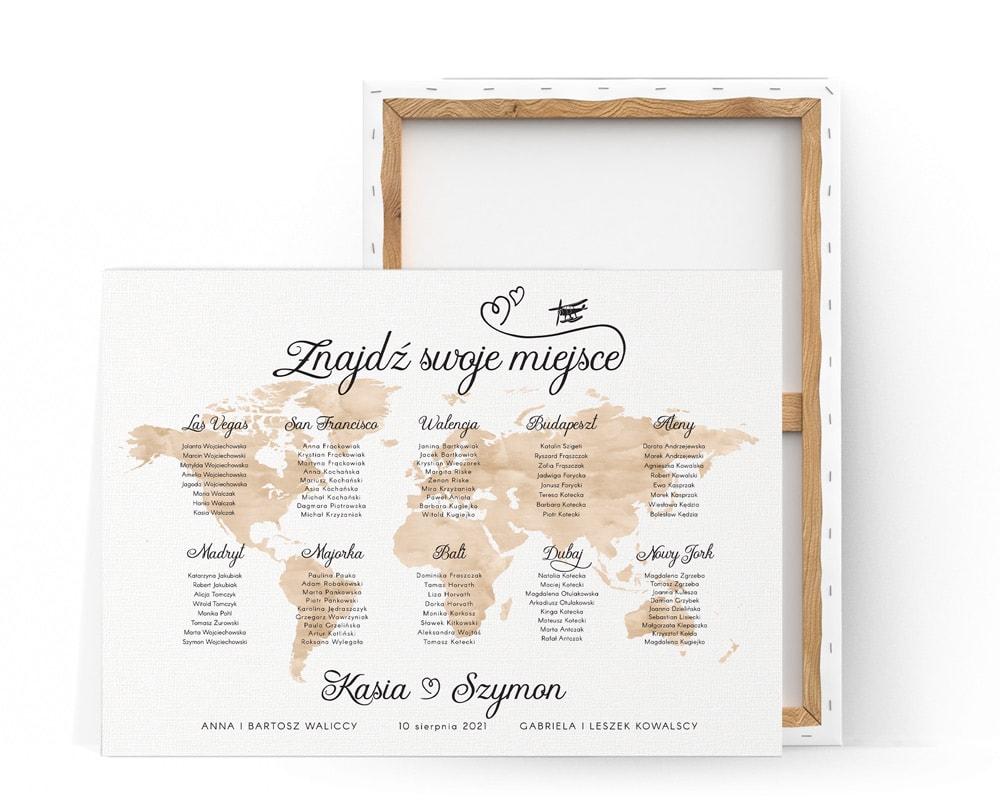 Tablica usadzenia gości z motywem podróży, brązowa mapa z nazwami miast
