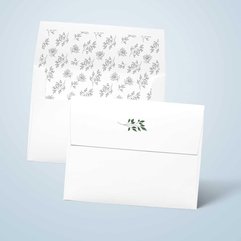Białek koperty na zaproszenia z zamknięciem w prostokąt i z nadrukiem