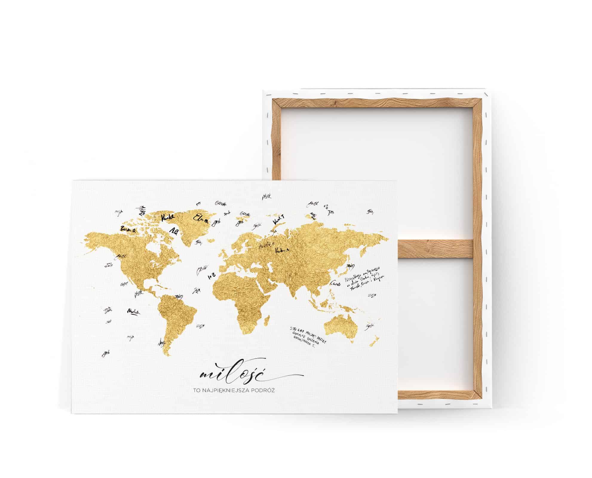 Księga gości na płótnie do pamiątkowych wpisów gości z mapą świata