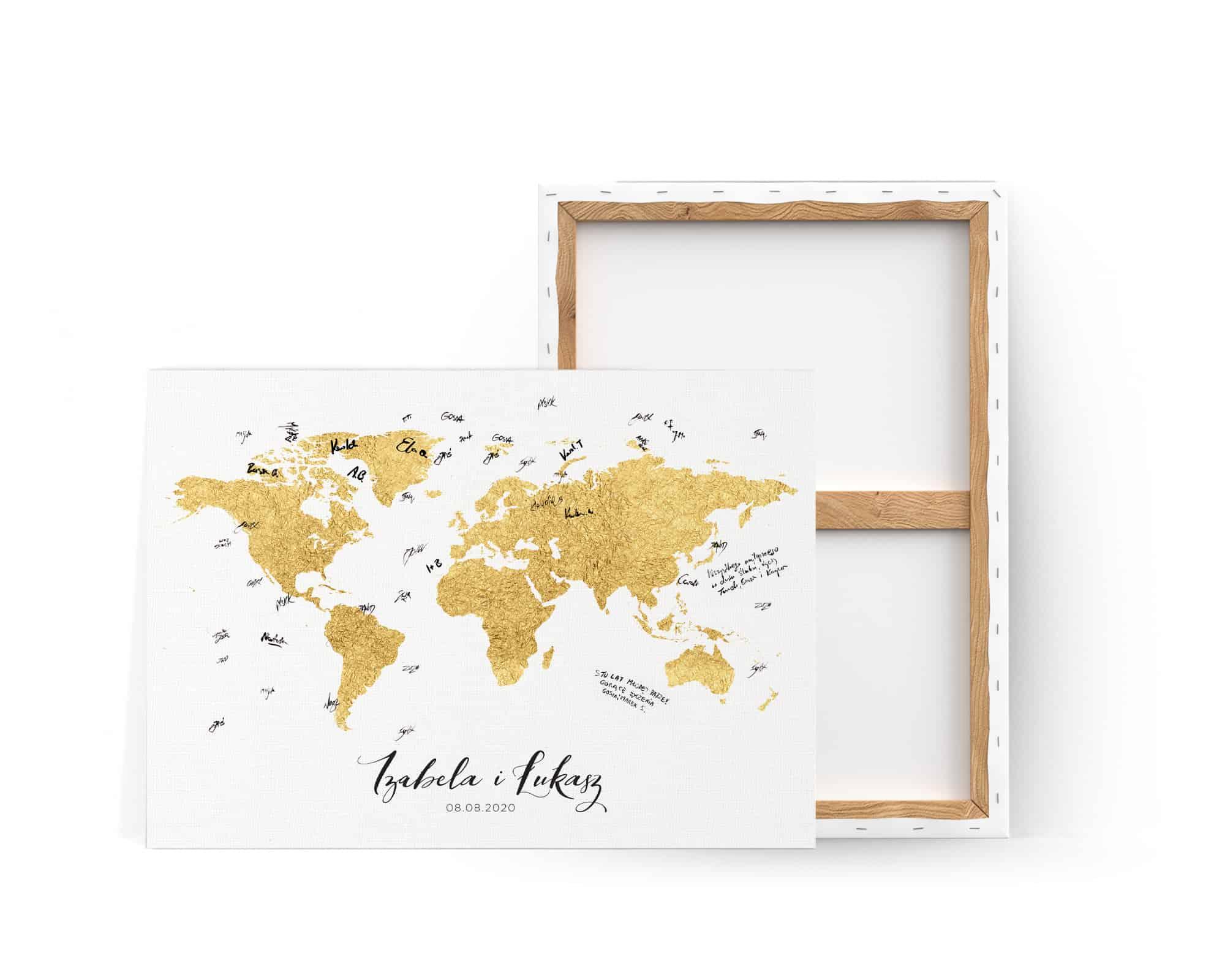 Księga gości ze złotą mapą świata do powieszenia