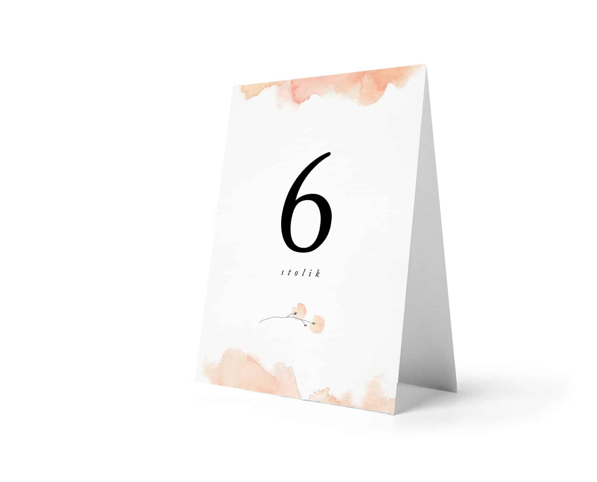 Numery na stołu w kolorze brzoskwiniowym, jasne, proste