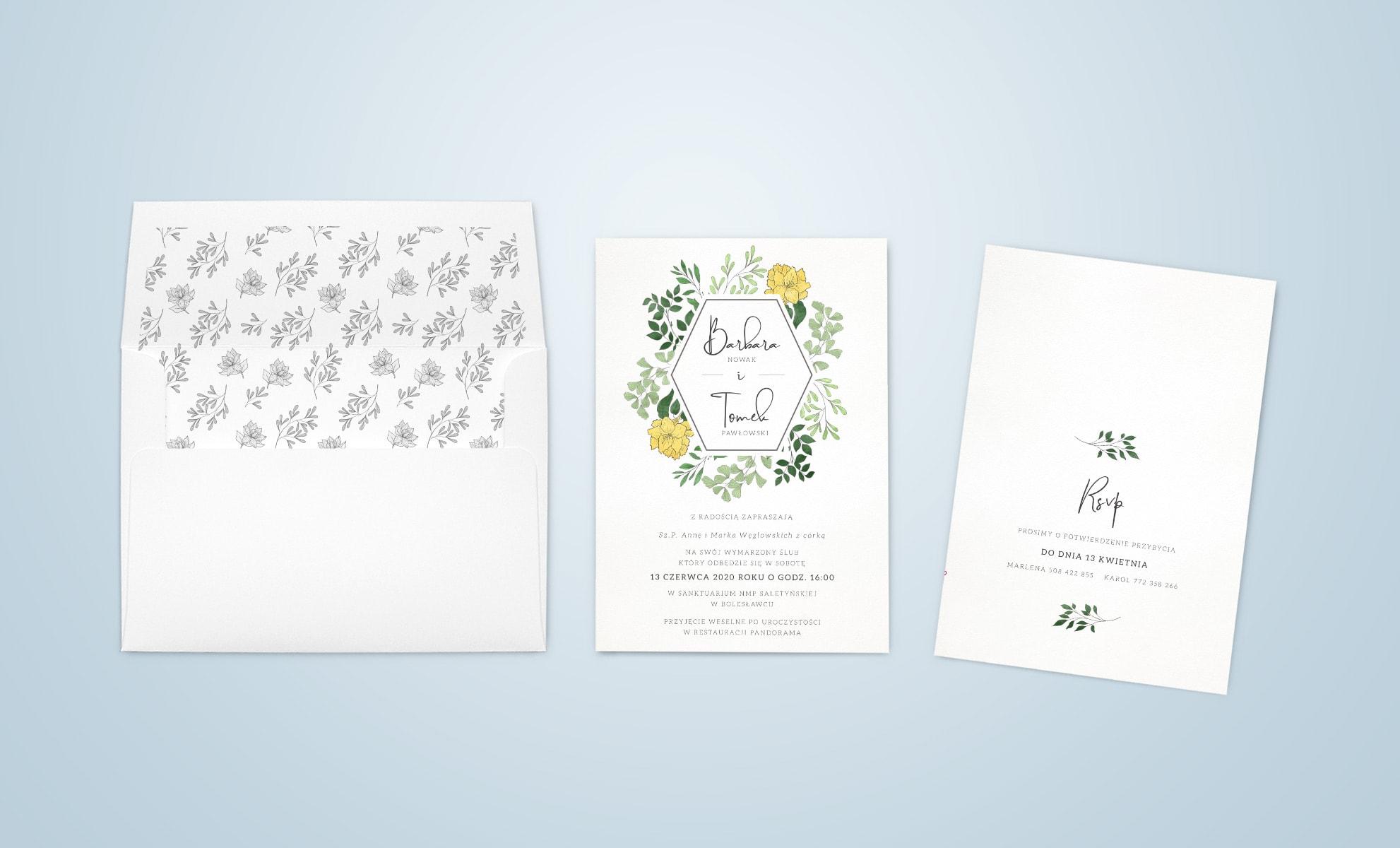 Zaproszenia w jasnozielonej kolorystyce, drobne listki, ozdobna czcionka