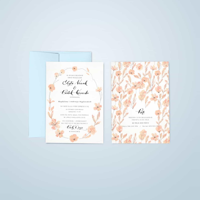 Zaproszenia na ślub w delikatnym kolorze, na śnieżnobiałym papierze, kwiatowe
