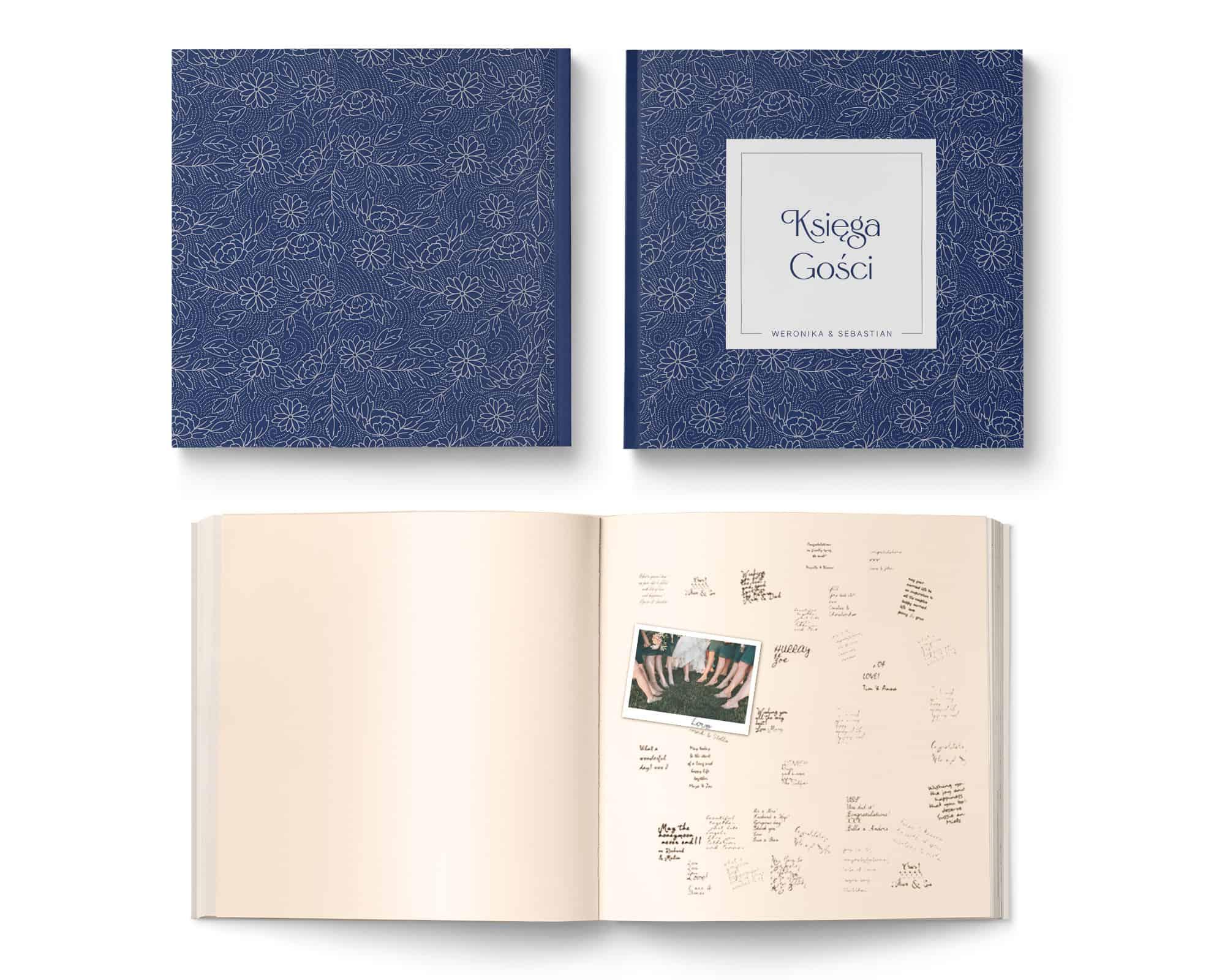 Księga gości weselnych w klorze granatu i kartami ecru