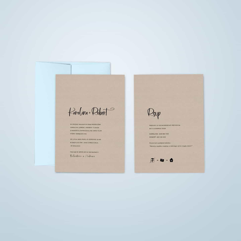 Zaproszenia ekologiczne na papierze kraft z białą czcionką