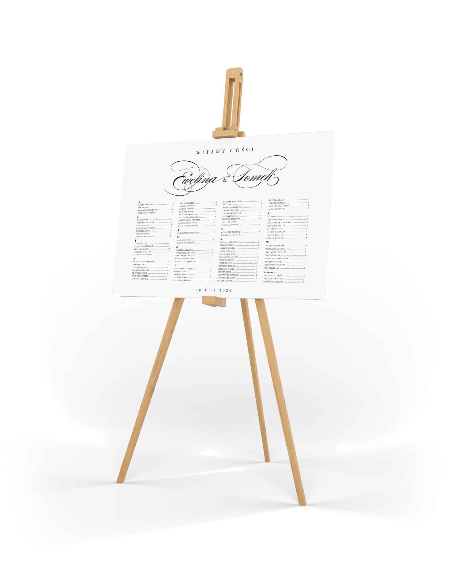 Minimalistyczny, klasyczny plan stołów na eleganckie przyjęcie. Czarno biały