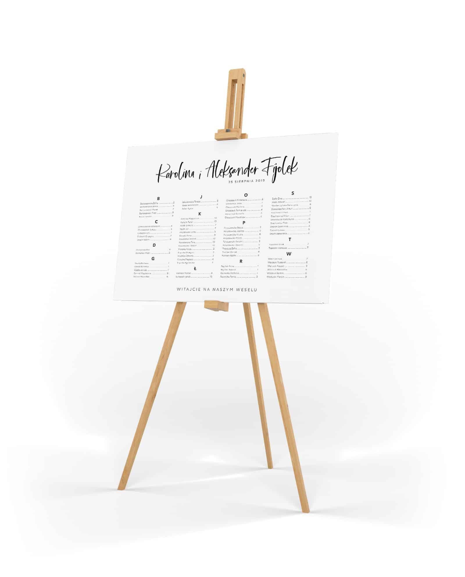 Minimalistyczny plan stołów z alfabetczynym rozmieszczem gości