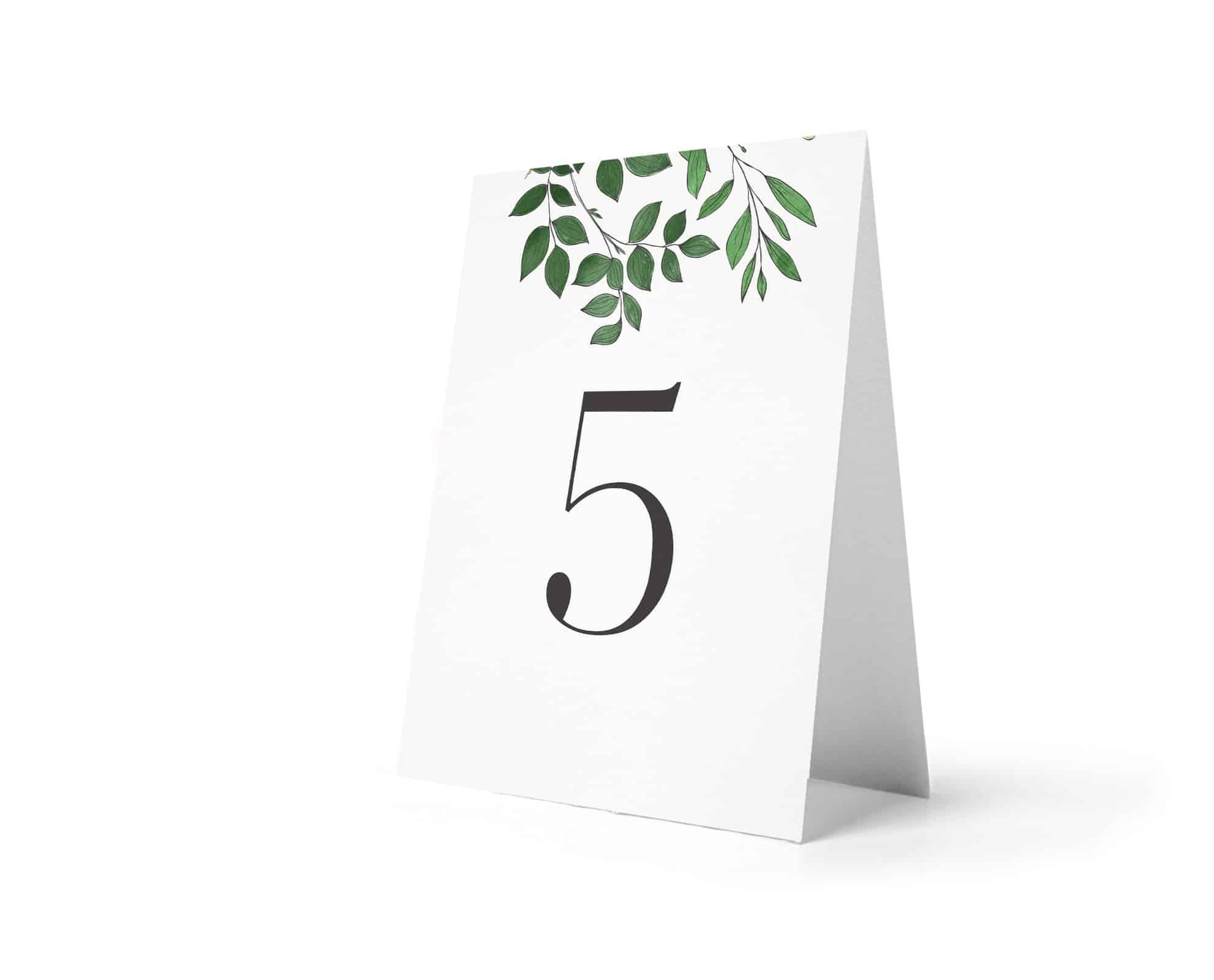 Numery na stoły weselne z zielonymi listkami u góry Laurel
