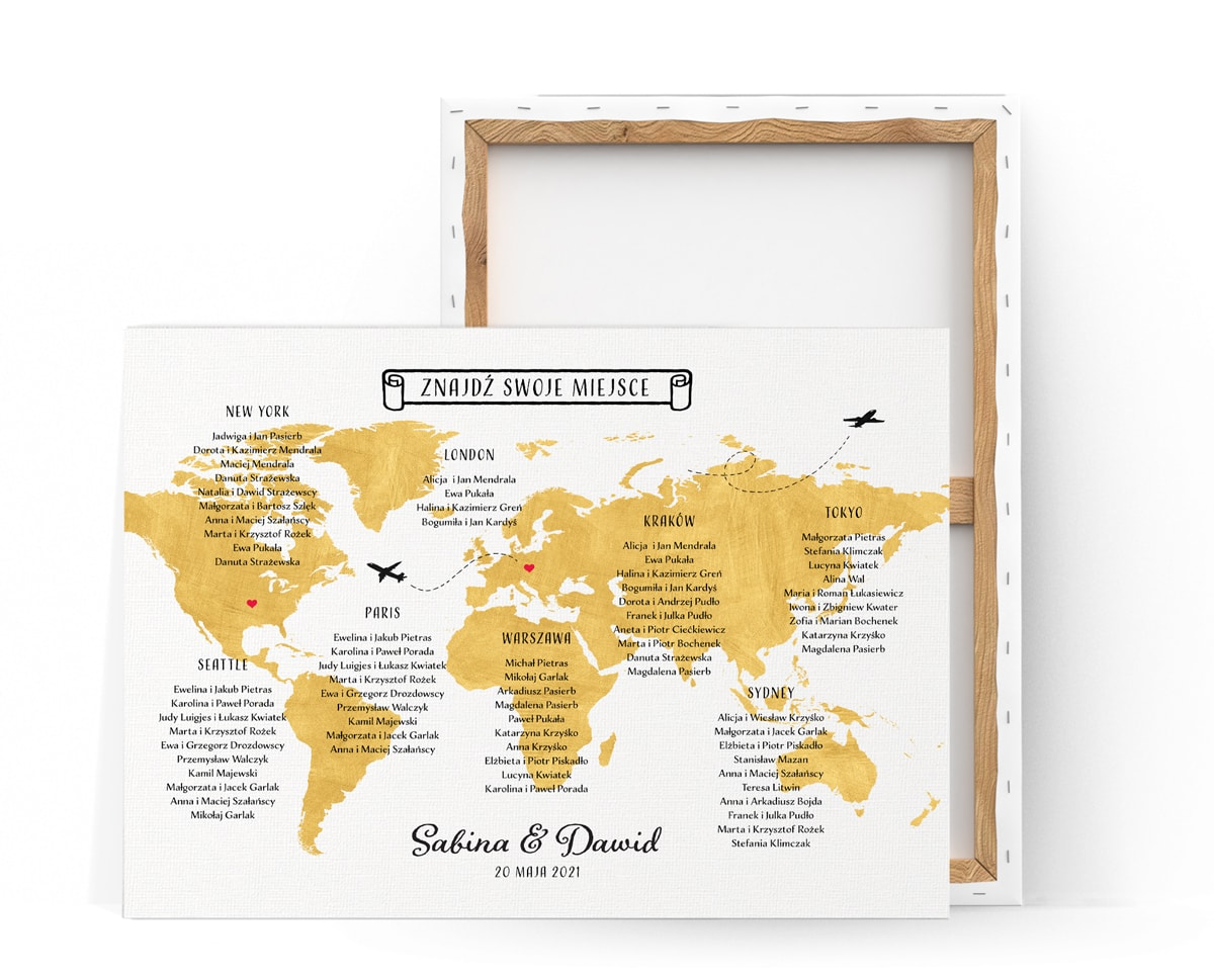 Plan stołów na wesele z motywem mapy świata w złotym kolorze i nazwami Państw