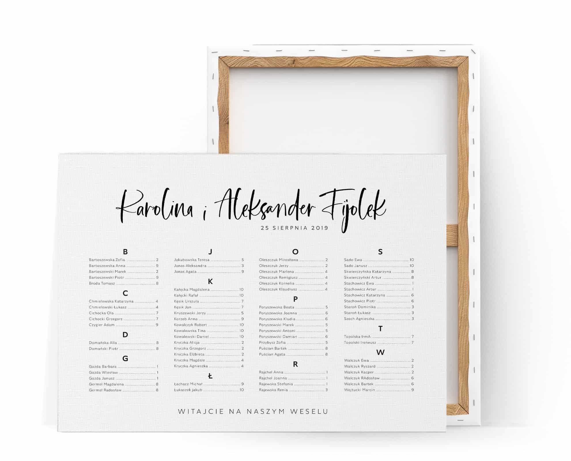 prosty i czytelny plan usadzenia gości przy stołach na weselu