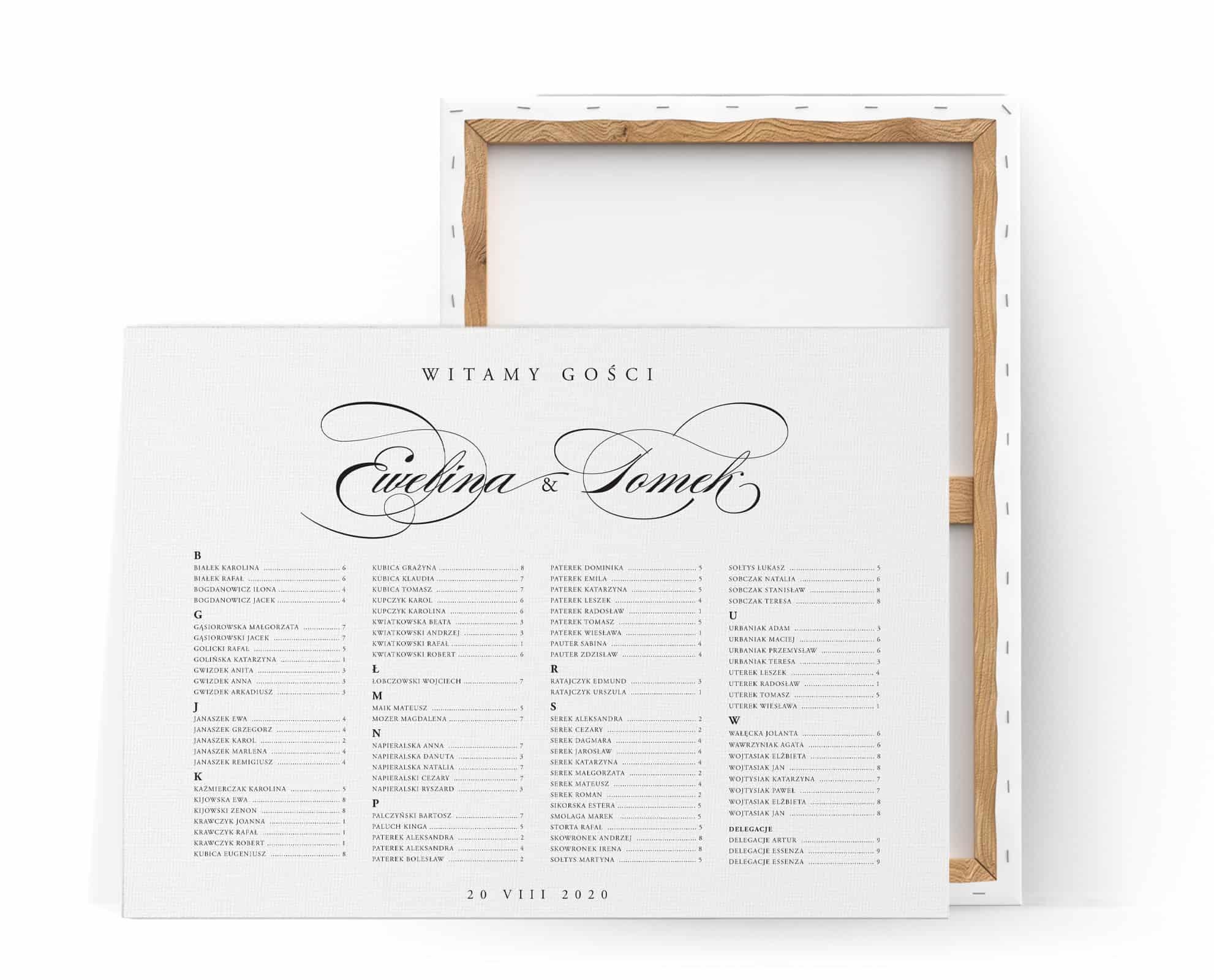 Klasyczny czarno biały plan stołów na eleganckie przyjęcie weselne