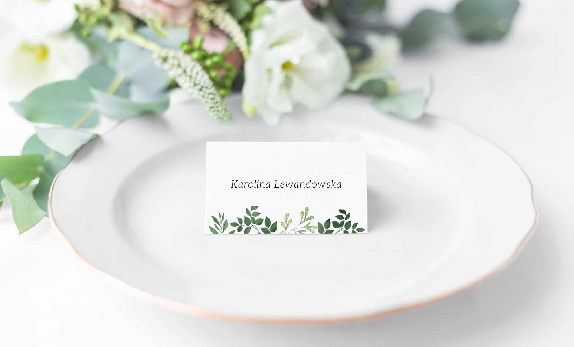 Winietki na stoły weselne z listkami Laurel