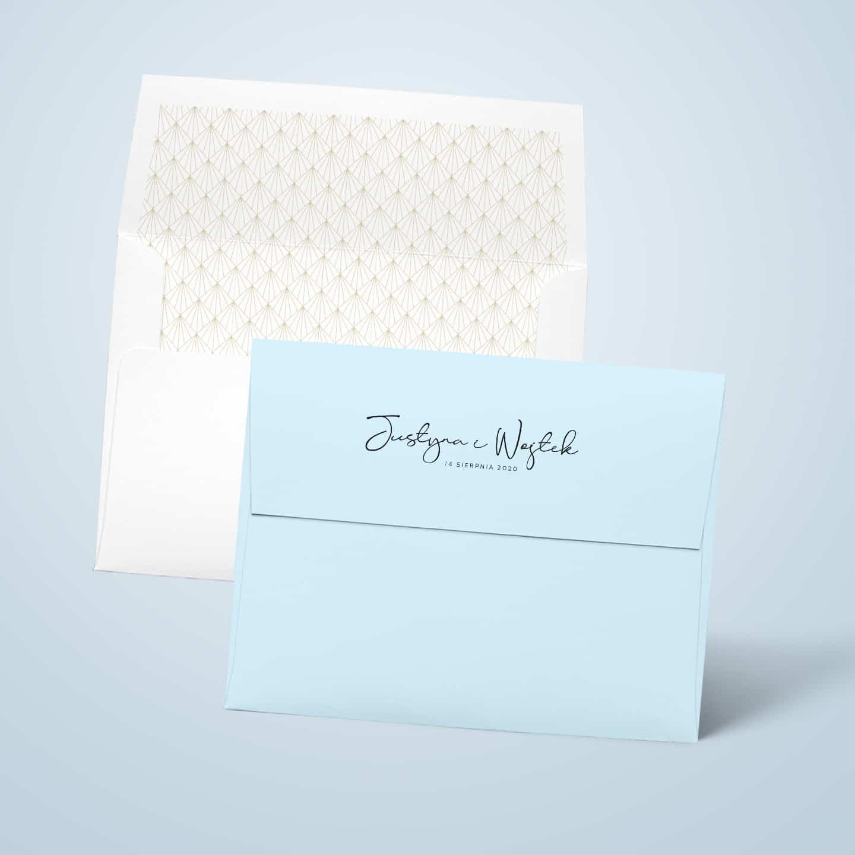 Koperty na zaproszenia niebieskie z imionami na klapce